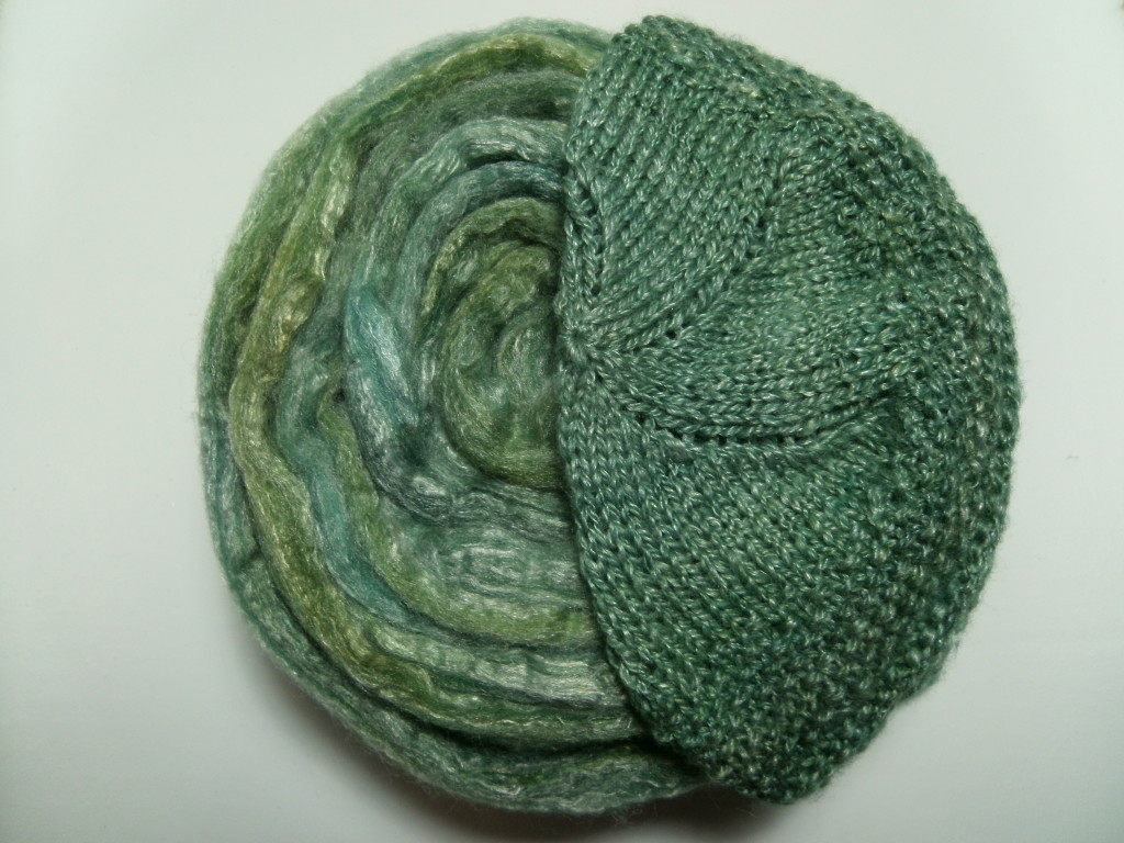 Bam Huey Hat with random spun Chloroplast Blast in Sport and DK weight yarn.
