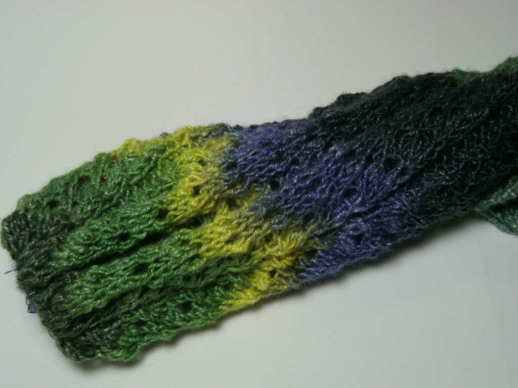 March's Green Comet added to the Year Long Scarf.